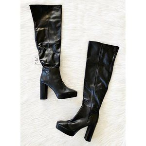 NEW Zara Real Leather Platform Over The Knee Boots